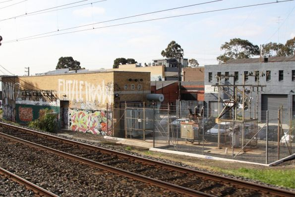 Hawthorn substation, view of the old transformers and breakers in the switchyard
