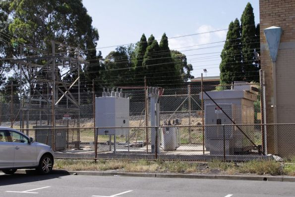 Hawthorn substation, view of the modern transformers and breakers in the switchyard