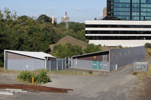 Flinders Street substation: tramways is smaller building to the left, railway is the larger one to the right