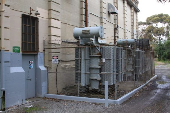 East Camberwell substation, pair of transformers sit outside the building