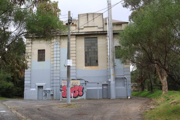 East Camberwell substation, rail side showing the communication huts
