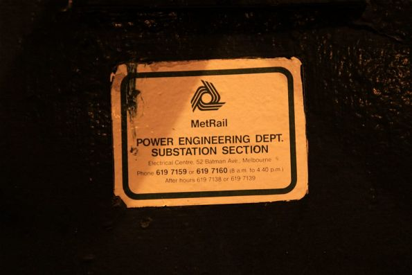 MetRail Power 'Engineering Department / Substation Section' sticker at Flinders Street