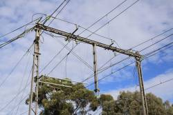 Coburg substation: 1500 V DC traction feeds connect to the overhead