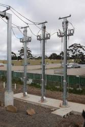 Sunbury substation, trio of traction feeder cables