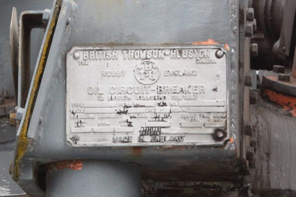 Royal Park substation, 'British Thomson-Houston' builders plate on an oil filled circuit breaker