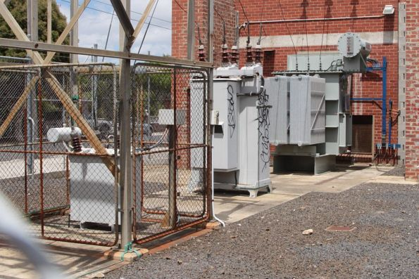 Croxton substation, transformers and circuit breaker in the switchyard