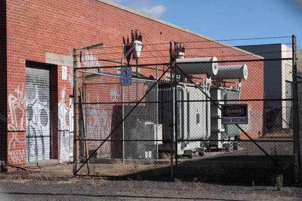 Victoria Park substation, pair of 1,500 kW transformers in the yard outside