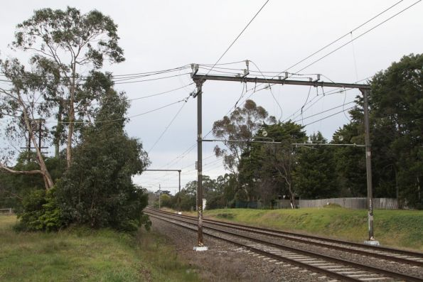 Beaconsfield tie station, traction feeders run to the overhead wires