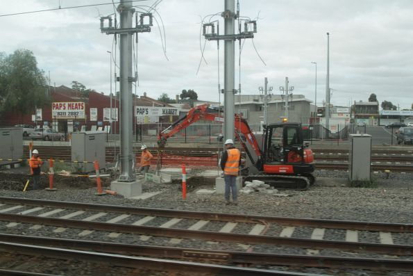 New traction substation under construction at the down end of Sunshine