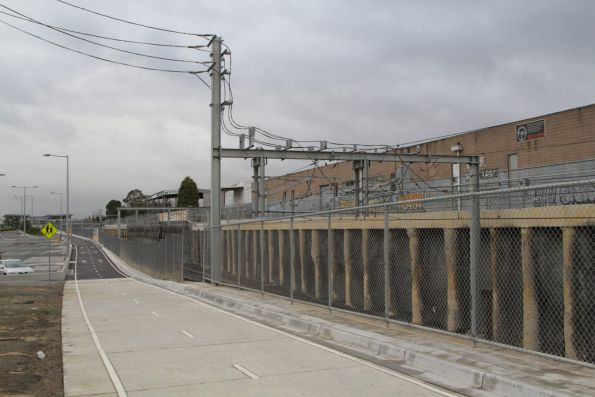 Mitcham substation, traction feeders for the lowered tracks
