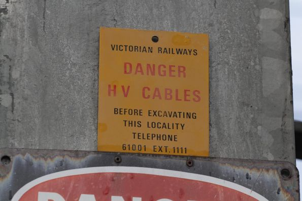 Victorian Railways 'Danger HV Cables' warning at Box Hill