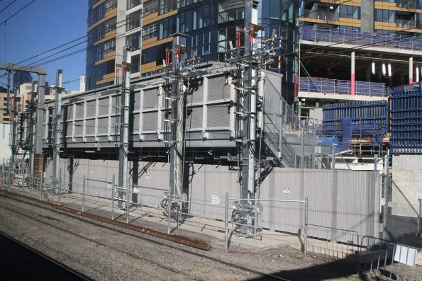 New double storey prefabricated substation under construction at Viaduct Junction