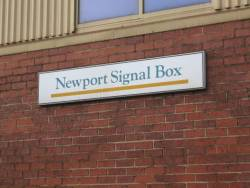 'Newport Signal Box' on a PTC station sign - since removed