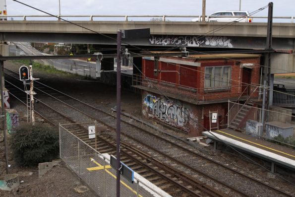 Geelong Road bridge and abandoned signal box at West Footscray