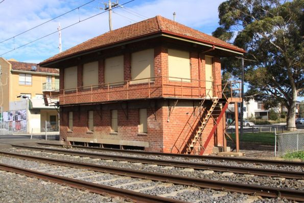 Disused signal box at the up end of Coburg station