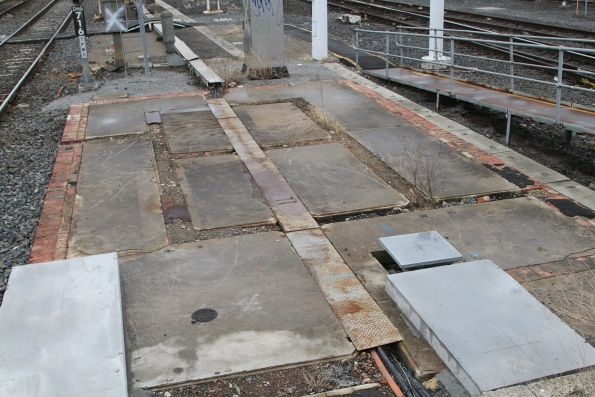 Foundation of the former Dandenong signal box at the down end of platform 2