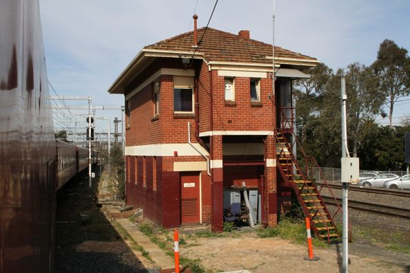Caulfield signal box, located at the down end of the station