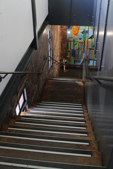 Steps down to ground level at the 'Signal' youth arts centre