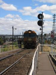 NR92 shunting a container train at North Melbourne
