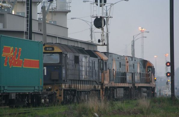 8121, NR?, and NR? outside the PN provisioning centre, arriving into Melbourne from the North East line