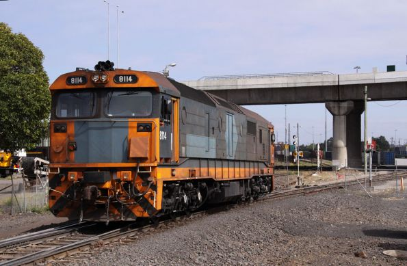 8114 shunts the city end of the Melbourne Freight Terminal at South Dynon