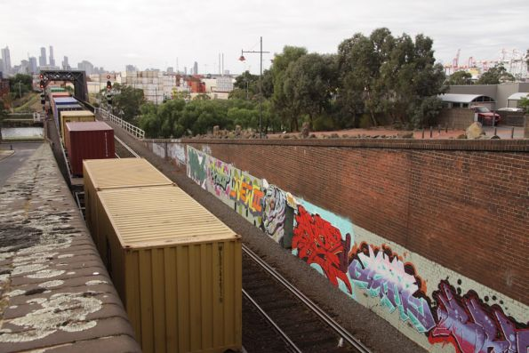 Containers from Swanson Dock re-emerge from the Bunbury Street tunnel