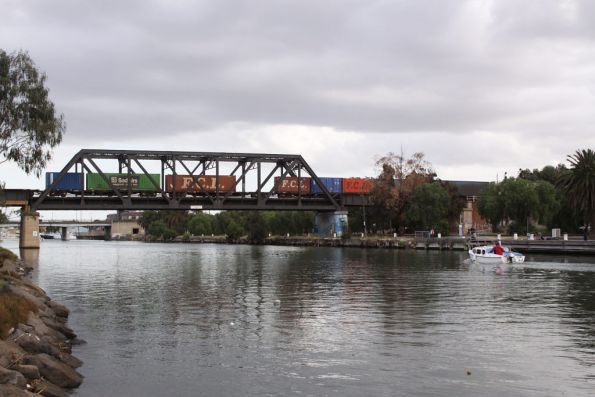 Inbound freight crosses the Maribyrnong River bridge