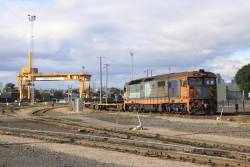 8114 shunts container wagons at the Melbourne Freight Terminal