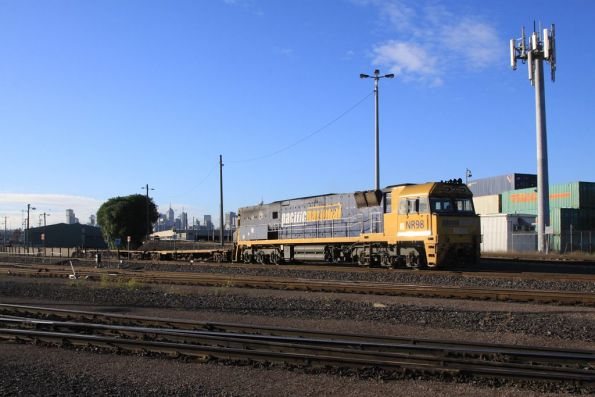 NR98 shunts a rake of wagons into the Wagon Maintenance Centre