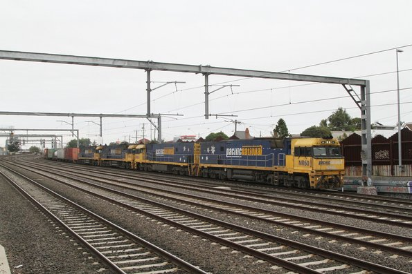 NR60 leads NR92, NR114 and NR88 on an up service at Middle Footscray