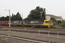 NR72 and NR101 on the up with 3AM5 at West Footscray