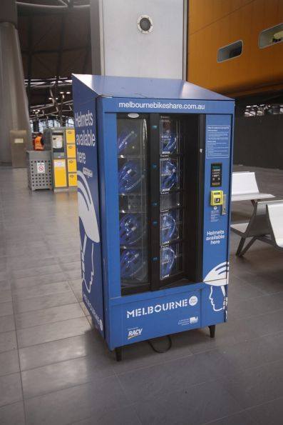 Vending machine for bike helmets, part of the Melbourne Bike Share program
