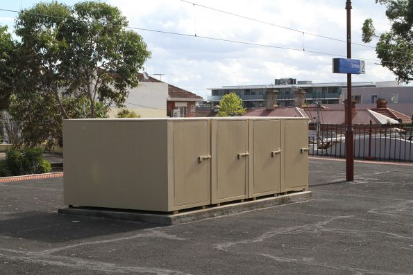 Bike lockers on the platform at Glenferrie station