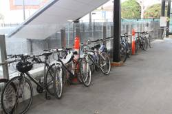 Bikes chained up to the handrails at St Albans station