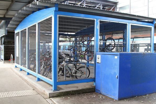 Parkiteer cage beside a bike locker at Watergardens station