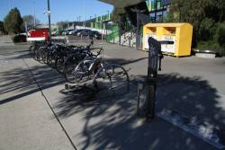 Bike repair station outside West Footscray station