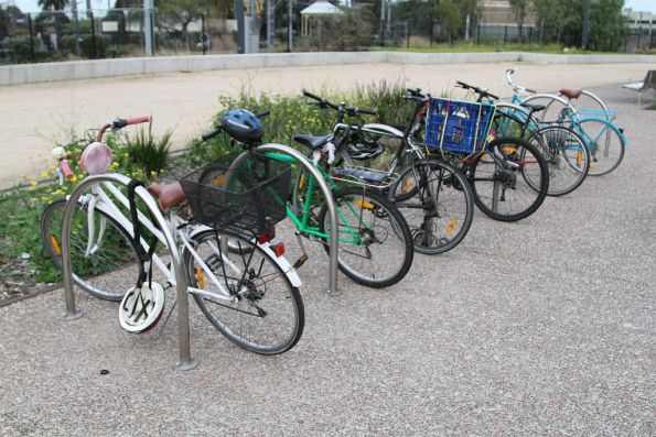 Bikes locked up to the racks outside Footscray station
