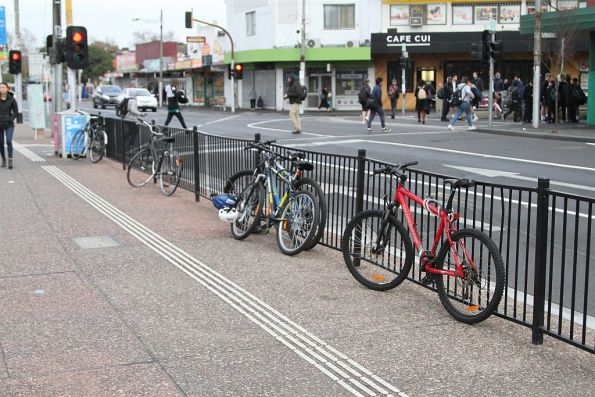 Bikes locked up to the fence outside Footscray station