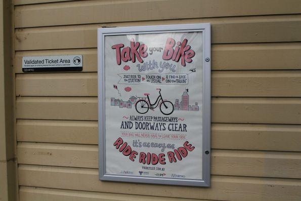 'Take your bike with you' poster at Fairfield station