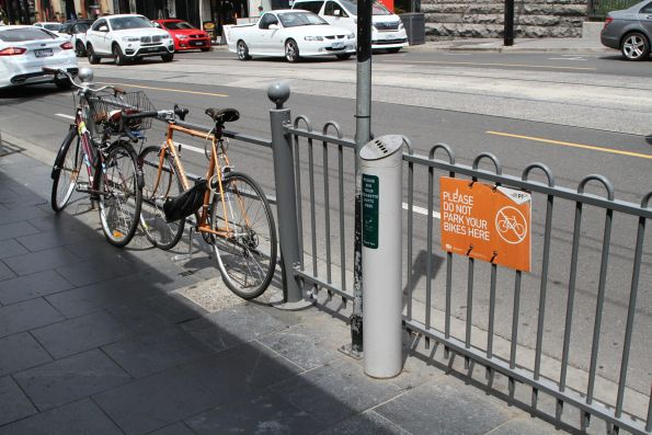 'Please do not park your bike here' sign outside South Yarra station