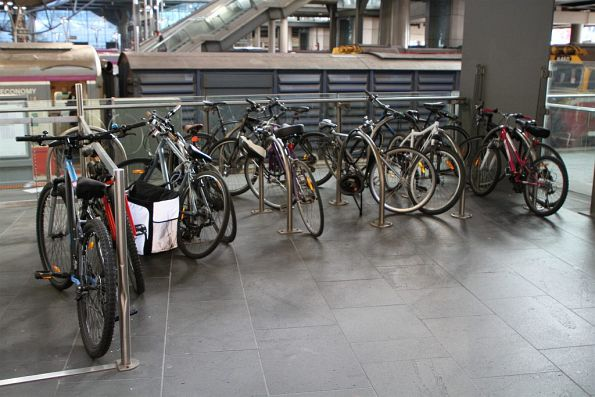Lots of bikes locked up at the Bourke Street end of Southern Cross Station