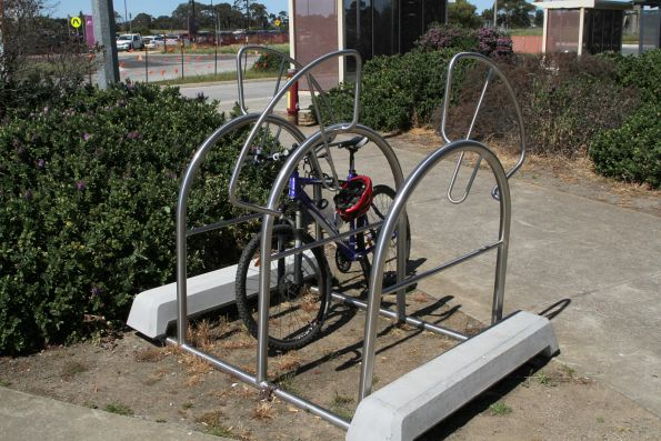 Portable bike rack at Marshall station