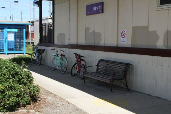 Bikes locked up to hoops at Marshall station