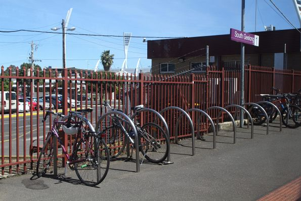 Plenty of parked bikes at South Geelong station