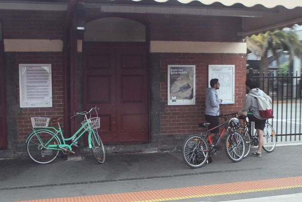 Three bikes waiting for the next V/Line train from Footscray station