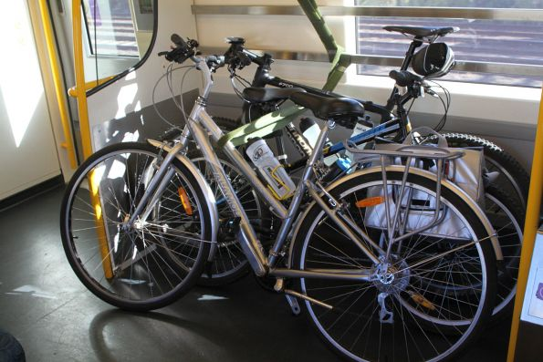 Three bikes in this VLocity carriage headed to Geelong