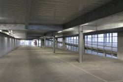 Inside the multi-storey car park at Syndal station