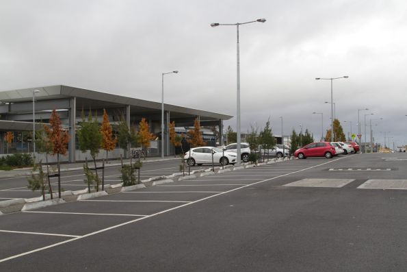 Car park located on the former ground level station site at Mitcham