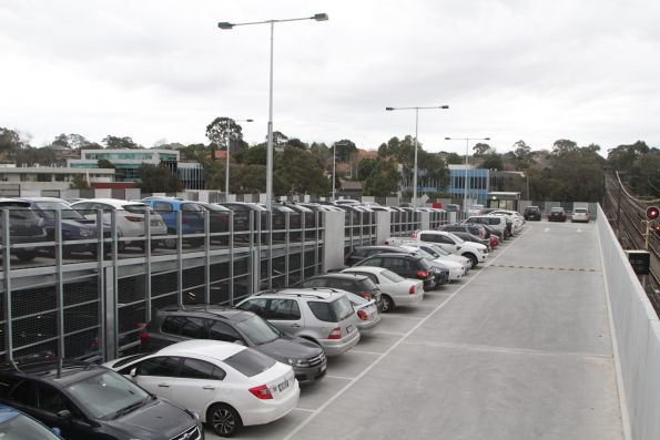 Multi-storey car park at Syndal station full on a weekday