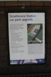 Poster promoting the upcoming Strathmore station car park upgrade